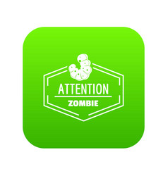 Zombie icon green vector