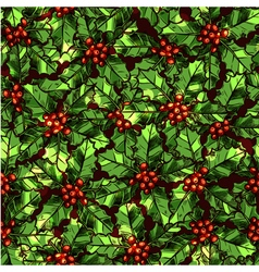 Christmas Pattern With Holly vector image vector image