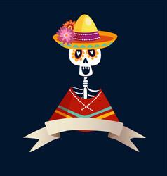 dia de los muertos greeting card invitation vector image