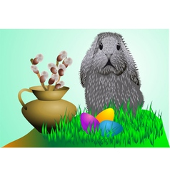 Easter Bunny and eggs vector image
