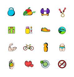 healthy lifestyle icons set cartoon vector image