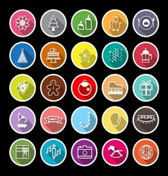 New year and christmas line flat icons with long vector image vector image