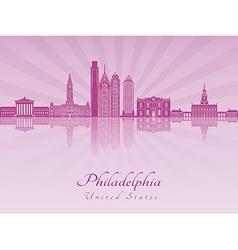 Philadelphia skyline in purple radiant orchid vector image vector image