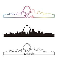 St louis skyline linear style with rainbow vector