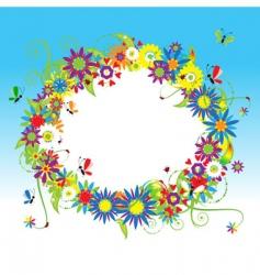 floral frame summer vector image vector image