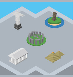 isometric attraction set of egypt chile rio and vector image vector image