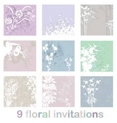 set of floral invitations vector image vector image