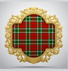 Vintage classic frame with tartan background vector