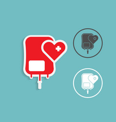 blood bag donation with heart shape medical vector image