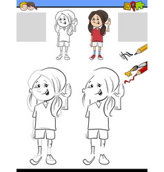 Drawing and coloring for children vector
