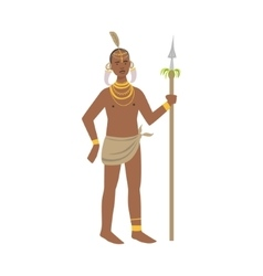 Warrior With Tusks In Ears From African Native vector image