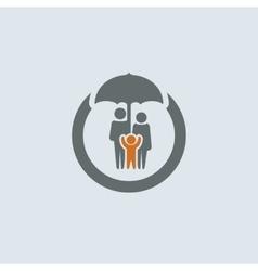 Gray-orange Family Round Icon vector image vector image