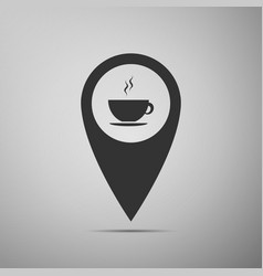 map pointer with hot coffee cup on grey background vector image