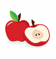 red apple on the white background vector image vector image