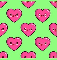 seamless pattern of smiling hearts on background vector image vector image