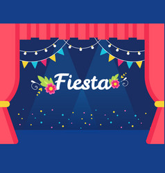 Stage with flags and lights garlands and fiesta vector