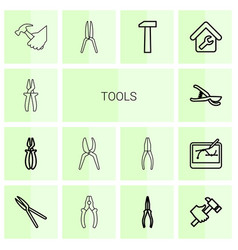 14 tools icons vector image