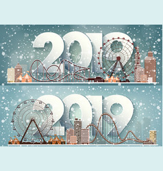 2019 roller coasterwinter urban landscape city vector image