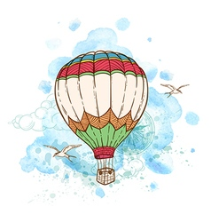 Air balloon and watercolor blots vector