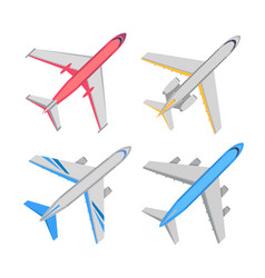 aircraft top view set vector image