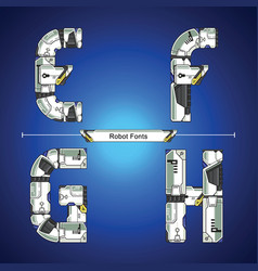 alphabet robot futuristic technology style in a vector image