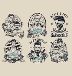 Barbershop vintage monochrome emblems vector