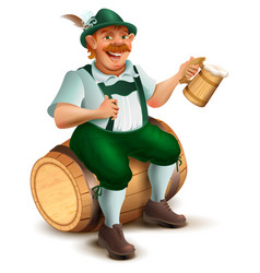 Beer festival oktoberfest man sits on wooden vector