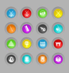 Billiard colored plastic round buttons icon set vector