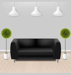Black sofa with lams with grey background vector