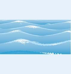 blue marine waves at sea or ocean vector image