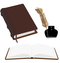 Books and inkwell vector image