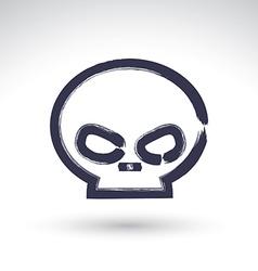 Brush drawing simple human skull painted medicine vector