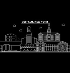 buffalo silhouette skyline usa - buffalo vector image