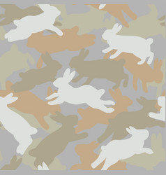 Bunny camouflage seamless pattern vector