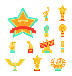 cartoon music award statuette entertainment winner vector image