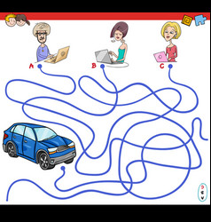 Cartoon paths maze game with people and car vector