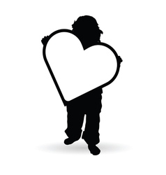 Child holding heart silhouette vector