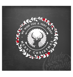 Christmas Greeting Design Element with Reindeer vector