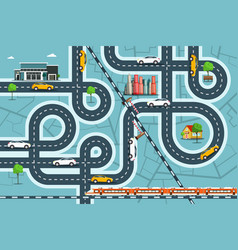 city map with cars on roads top view town life vector image