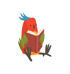 Cute bird sitting and reading book funny birdie vector