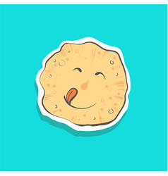 cute happy pancake with toungue sticker fashion vector image