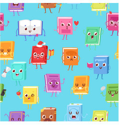 Cute kawaii books seamless pattern for back to vector