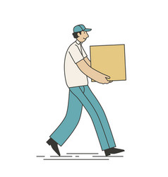 delivery courier carrying business service vector image