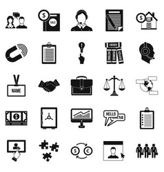 discussion icons set simple style vector image