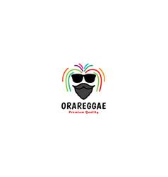 Dreadlocks hair man with beard head logo symbol vector