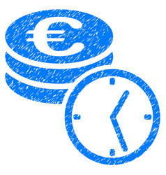 Euro coins and time grunge icon vector