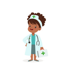 girl character think of joining medical profession vector image