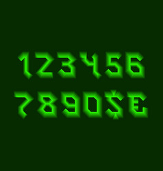 Gleam numbers and currency signs with green neon vector