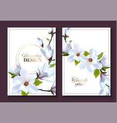 greeting card with magnolia flowers wedding vector image