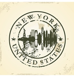 Grunge rubber stamp with New York USA vector image